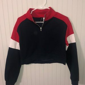 Red, white and blue half zip up